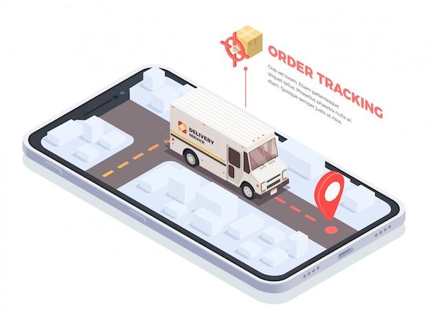 Composizione concettuale isometrica nella spedizione di logistica di consegna con lo schermo dello smartphone e camion di consegna con i pacchi e l'illustrazione del testo