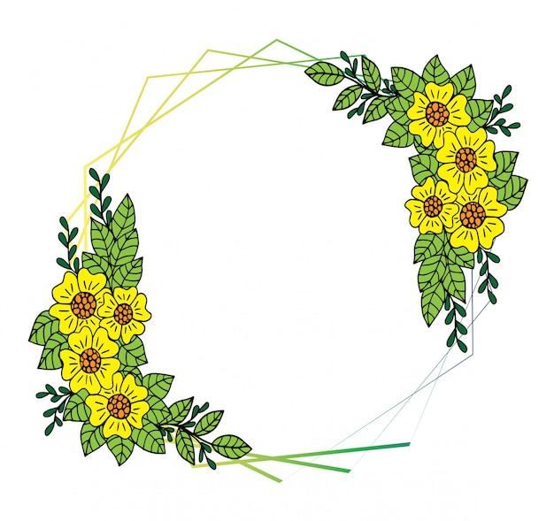 Composizione decorativa cornice con fiori