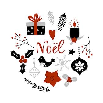 Composizione del cerchio con decorazioni natalizie.