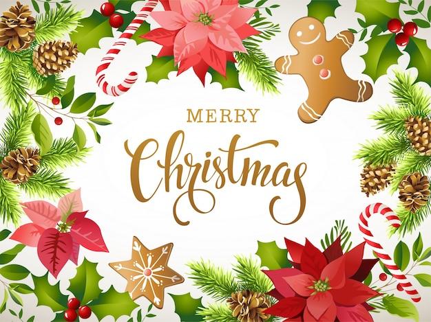 Composizione del design natalizio di poinsettia, rami di abete, coni, pan di spezie, zucchero filato, agrifoglio e altre piante