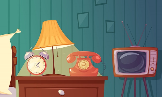 Composizione del fumetto di gadget retrò con sveglia comodino lampada telefono tv