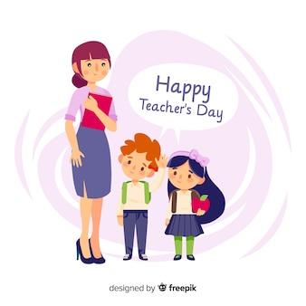 Composizione del giorno degli insegnanti adorabili del mondo con design piatto