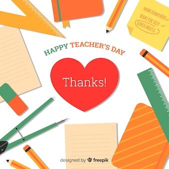 Composizione del giorno degli insegnanti del mondo colorato con design piatto