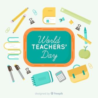 Composizione del giorno dell'insegnante di wolrd con design piatto