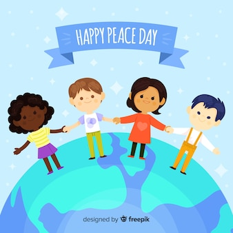 Composizione del giorno della pace con bambini piatti