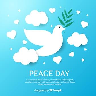 Composizione del giorno della pace con piatta colomba bianca