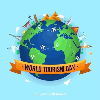 Composizione del giorno moderno turismo mondiale con design piatto