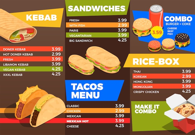 Composizione del menu di cibo di strada