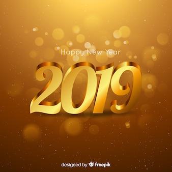 Composizione del nuovo anno 2019 con stile dorato