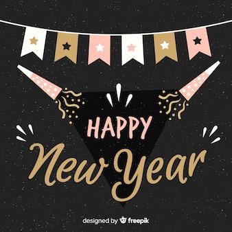 Composizione del nuovo anno 2019 disegnata a mano moderna