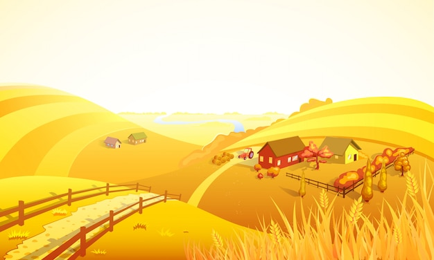 Composizione del paesaggio di fattoria in autunno