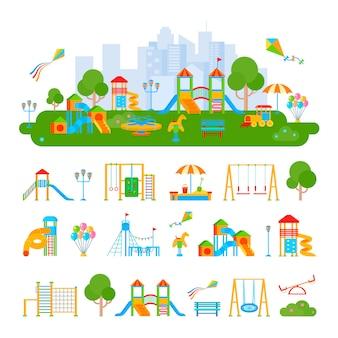 Composizione del paesaggio piatto del parco giochi