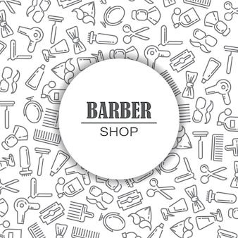 Composizione del set di icone per il negozio di barbiere.