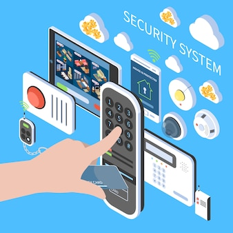 Composizione del sistema di sicurezza con le icone isometriche del sistema di videosorveglianza del citofono di allarme antincendio remoto