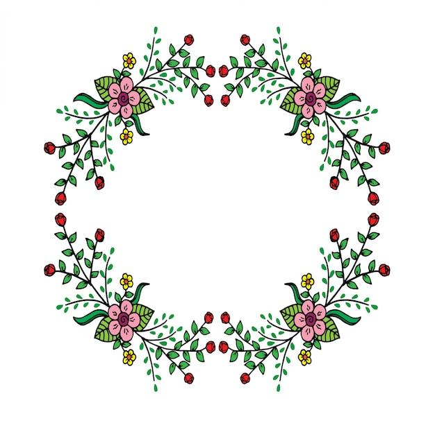 Composizione del telaio decorativo con elementi di design floreale, ornato, decorativo
