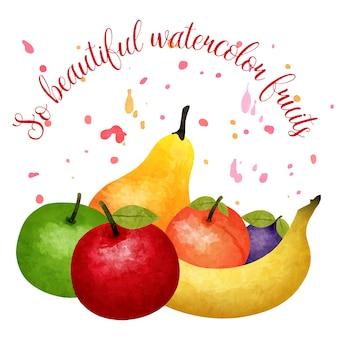 Composizione dell'acquerello di frutta con titolo di frutti dell'acquerello così bello e un mazzo che si trova uno accanto all'altro frutti