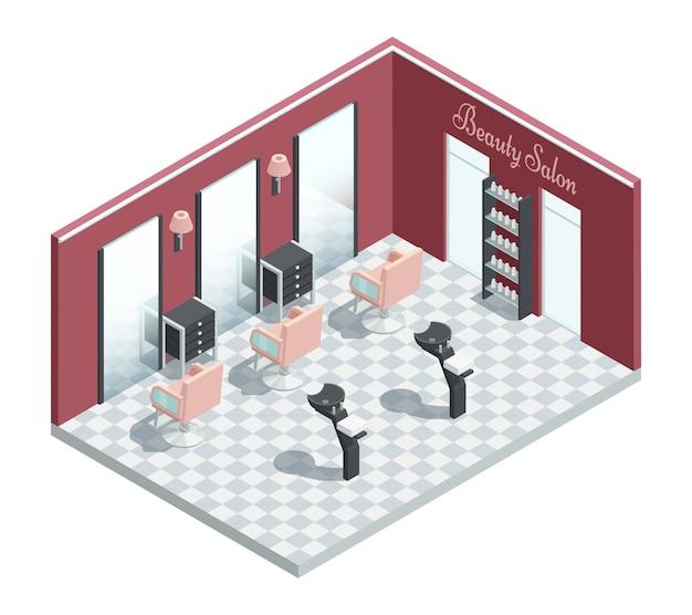 Composizione dell'interiore della stanza isometrica del salone di bellezza di cosmetologia