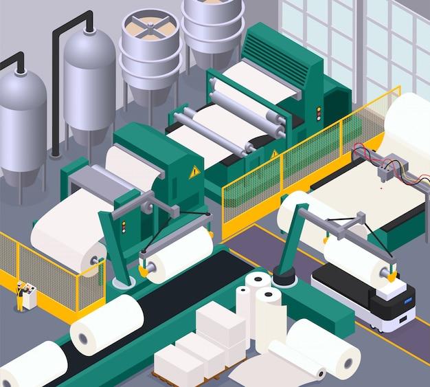 Composizione della produzione di carta con nastro trasportatore e simboli di stampa isometrici
