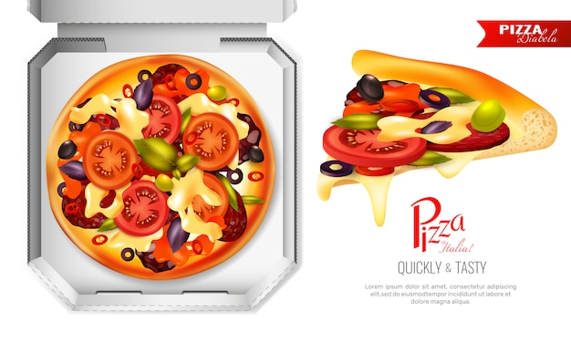 Composizione della scatola di pizza