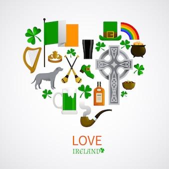 Composizione delle icone di tradizioni nazionali dell'irlanda