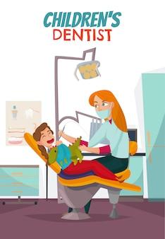 Composizione dentale pediatrica colorata con bambini