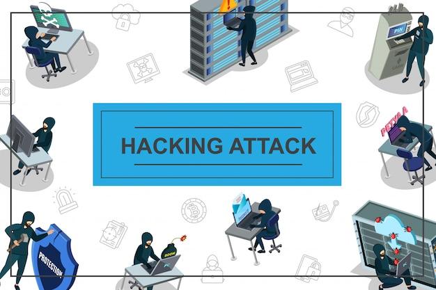 Composizione di attività di hacker isometrica con l'hacking di icone di sicurezza di internet atm e data center server di posta elettronica