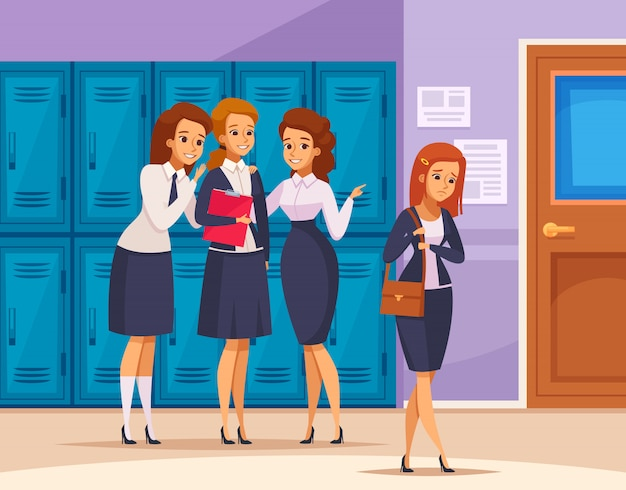 Composizione di bullismo nelle ragazze della scuola