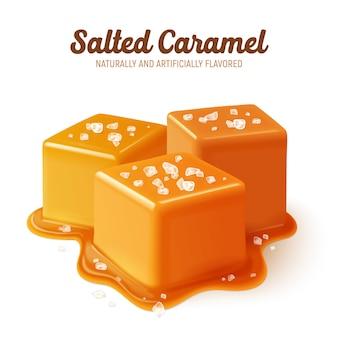 Composizione di caramello salato colorata e realistica con titolo naturalmente e artificialmente aromatizzato