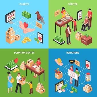 Composizione di carità di donare l'alimento e i giocattoli dell'abbigliamento dei soldi per l'illustrazione dei bambini