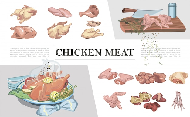Composizione di carne di pollo colorato con gambe petto piedi prosciutto ali raccordo filetto cuore fegato coltello sul tagliere pollo arrosto