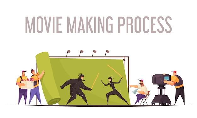 Composizione di cartone animato piatto processo di produzione di film con il regista e l'operatore di ripresa sparando agli attori di combattimento