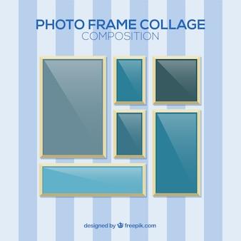 Composizione di collage cornice foto con design piatto