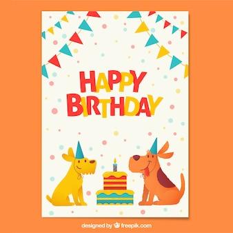 Composizione di compleanno con cani felici