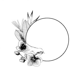 Composizione di contorno disegnato a mano con uccelli e fiori di orchidea esotici