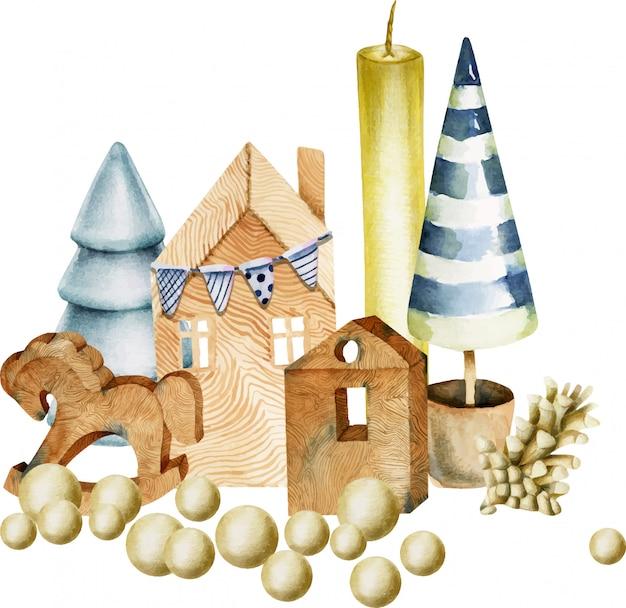 Composizione di decorazioni natalizie ad acquerello