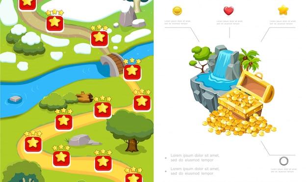 Composizione di design a livello di gioco del fumetto con percorso alberi pietre di fiume cascata scrigno di monete d'oro