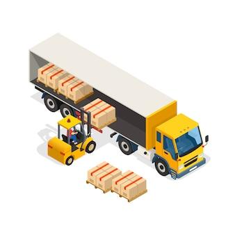 Composizione di disegno isometrico logistico
