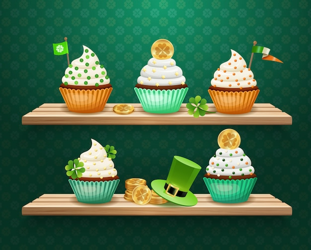 Composizione di dolci di san patrizio