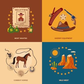 Composizione di elementi da cowboy piatta