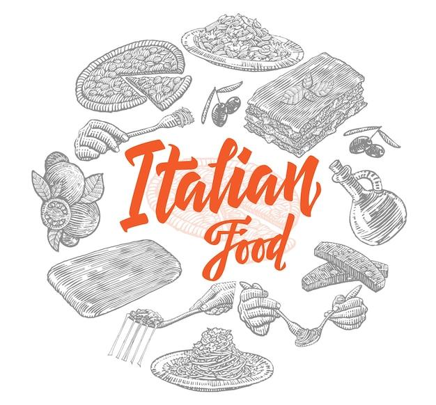 Composizione di elementi di cibo italiano di schizzo