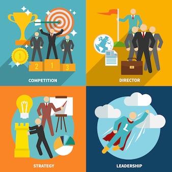 Composizione di elementi di leadership e personaggi piatti
