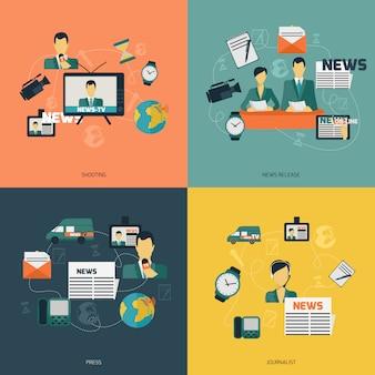 Composizione di elementi di notizie piatta