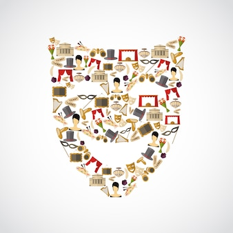 Composizione di elementi teatrali, forma di maschera
