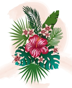 Composizione di fiori e foglie tropicali. ibisco, frangipane, palma e monstera