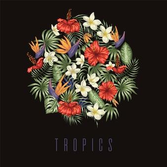 Composizione di foglie tropicali verdi con fiori di plumeria, strelitzia e ibisco incorniciati in cerchio su sfondo nero.