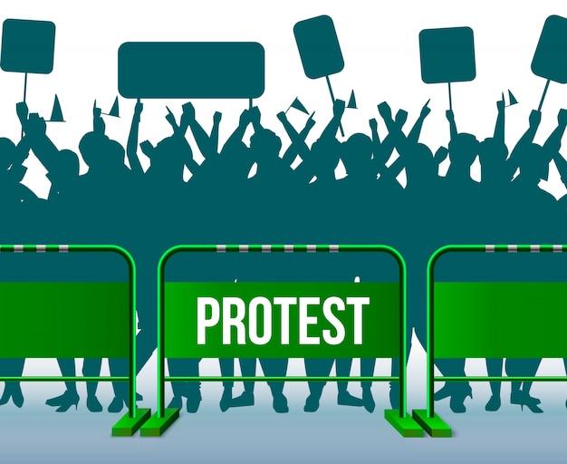 Composizione di folla protesta nella barriera di recinzione temporanea