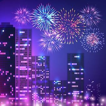 Composizione di fuochi d'artificio di grande città