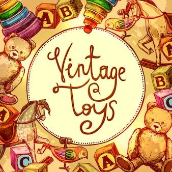 Composizione di giocattoli vintage