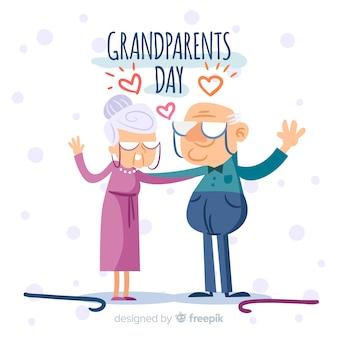 Composizione di giorno dei nonni disegnata a mano adorabile