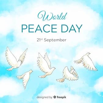 Composizione di giorno di pace con colomba bianca dell'acquerello